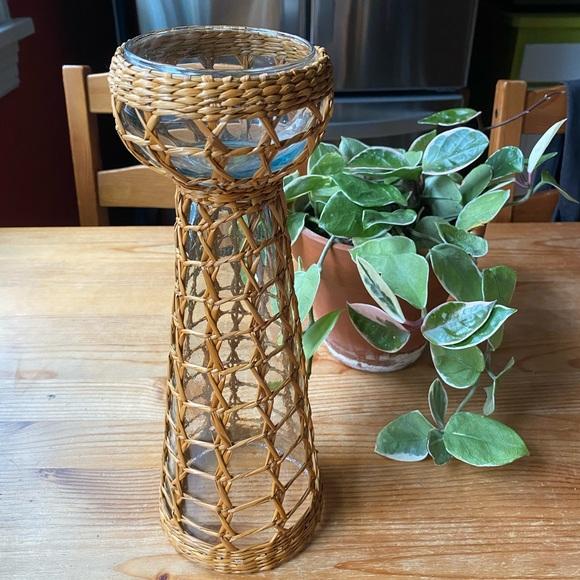 Vintage Wicker Glass Candle Holder/Vase